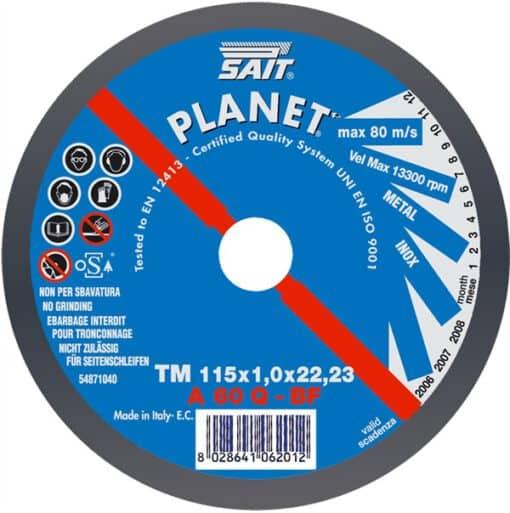 SAIT A60Q FLAT METAL CUTTING DISC 115mm x 1mm x 22mm