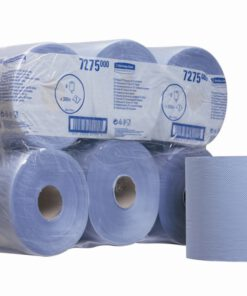 CASE (6) KC 7275 CENTRE FEED ROLL 1PLY BLUE 300M