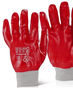 RED PVC KNITWRIST WORK GLOVES 66145